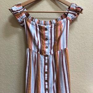 Aeropostale Striped Off-the-Shoulder Dress